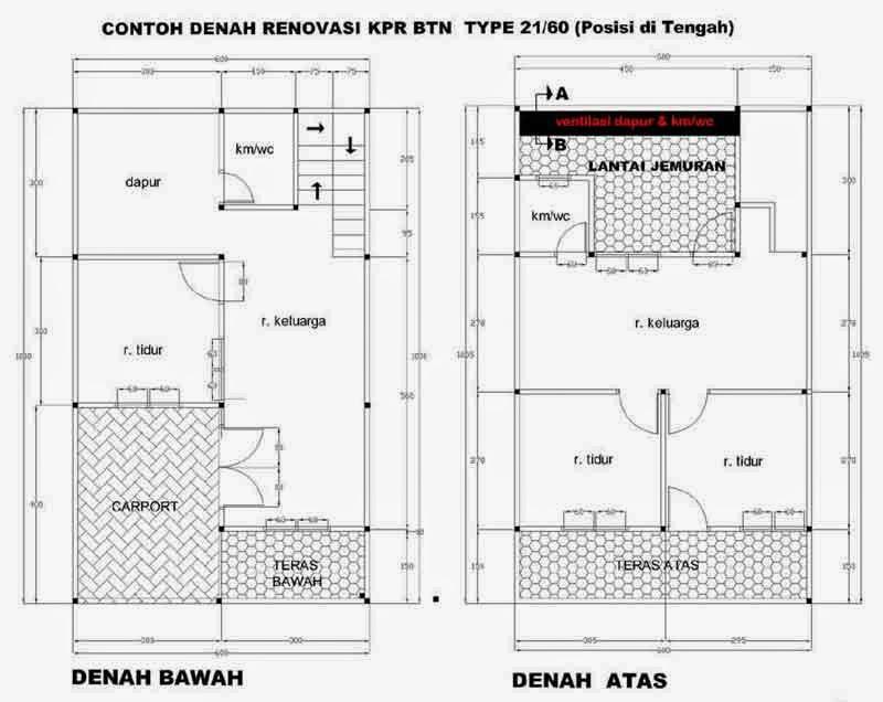 Denah Rumah Minimalis 2 Lantai Type 21