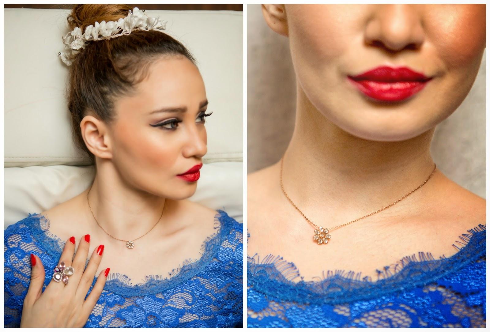 Swarovski Floral Astrid Pendant & Chain, Swarovski Floral Heritage Ring