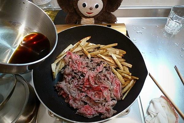 牛肉とゴボウのきんぴら大葉のせの作り方(2)
