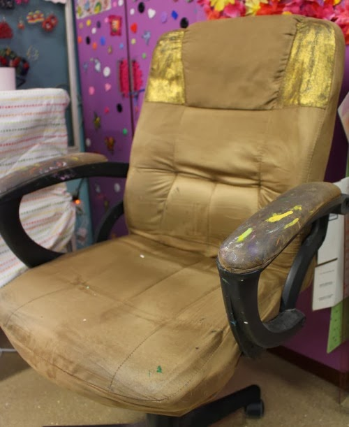 office chair makeover. This Is What I Started With. Eee Gads. It Was Ugly. But, The Good Thing Made Of Microfiber, Perfect For Fabric Paint! Office Chair Makeover