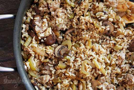 Chicken Sausage Brown Rice Stuffing with Celery and Mushrooms