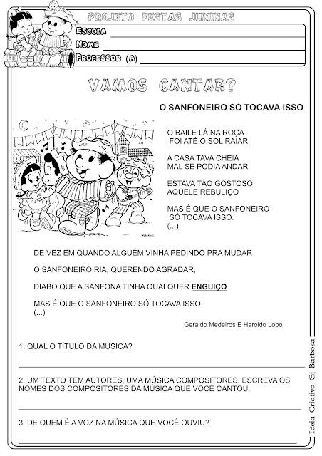 Atividade Texto Interpretação Festas Juninas Música