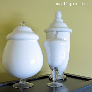 diy painted milkglass apothecary jars rosyscription. Black Bedroom Furniture Sets. Home Design Ideas