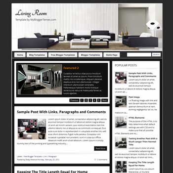 Living Room blogger template. magazine style blogger template. download interior and decoration blog