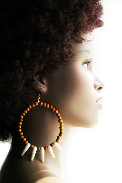 tribal african beaded hoop earrings