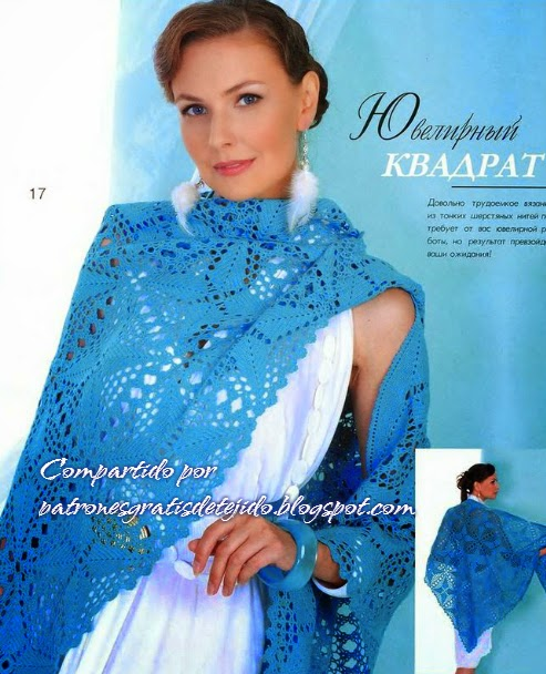 Chal azul con hermoso diseño crochet