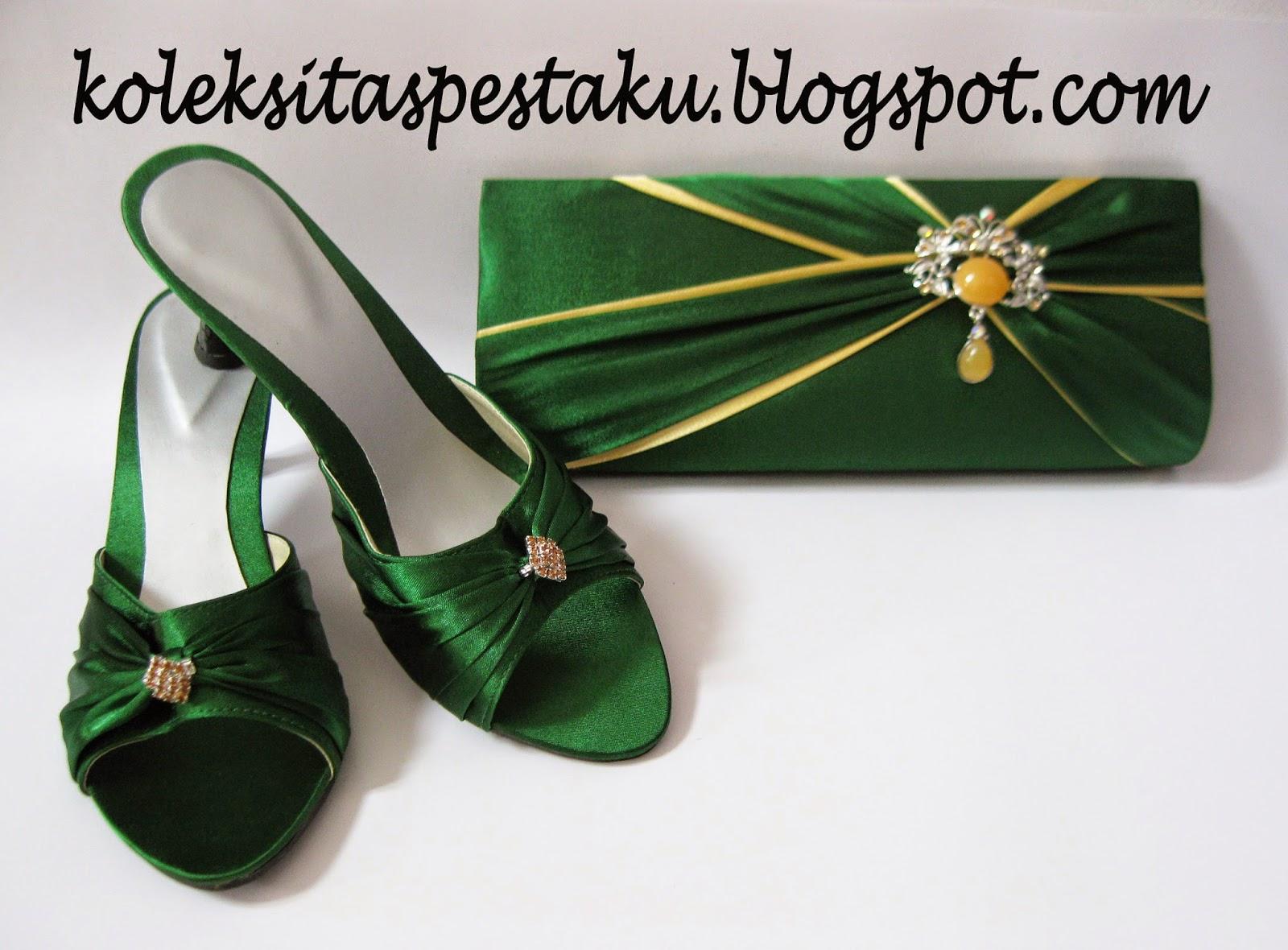 Sepatu dan Ta Pesta Cantik Hijau Botol