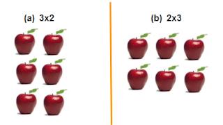 Susunan 6 buah apel. (a) susunan 3 × 2 buah apel (b) susunan 2 × 3 buah apel