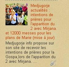 Medjugorje : intentions de prières pour l'apparition du 2 avec Mirjana. et 12000 messes