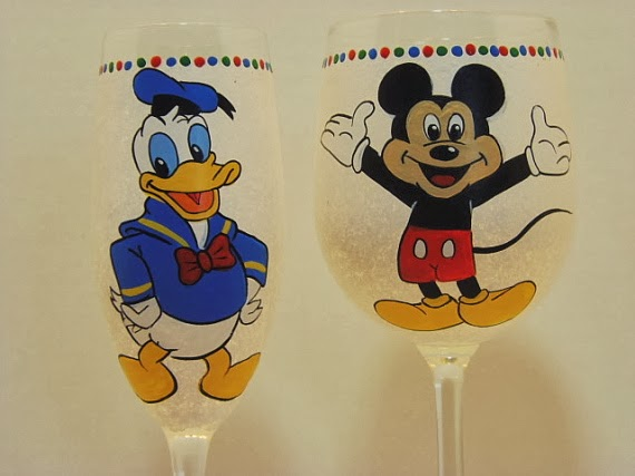cartoon character painted wine glasses