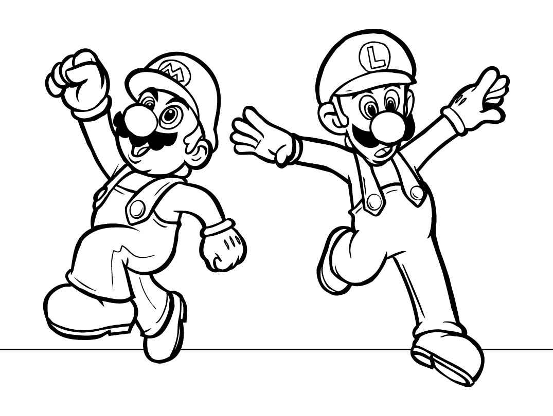 Luigi And Mario Coloring Pages Mario Luigi Coloring Pages