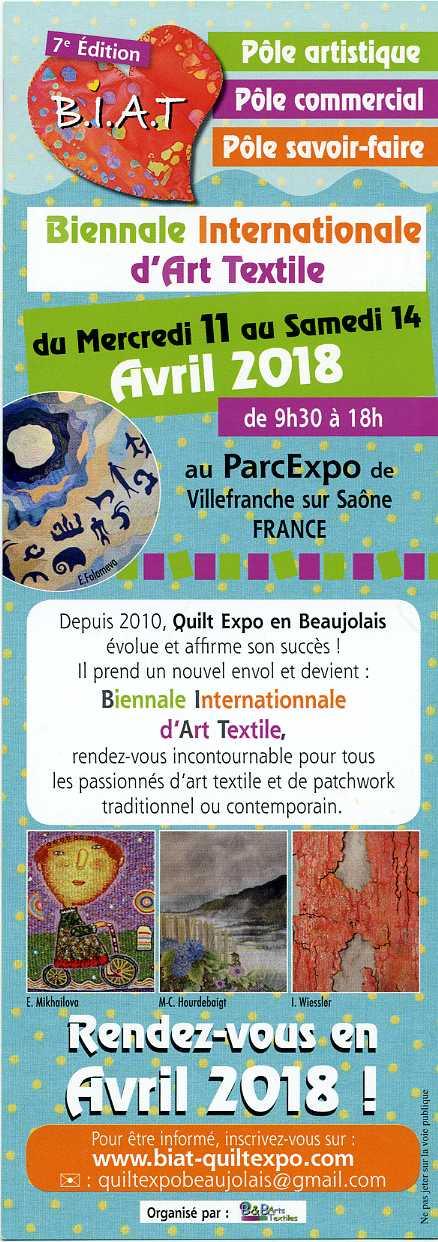 Biennale internationnale d'Art Textile du 11 au 14 avril à Villefranche sur Saône