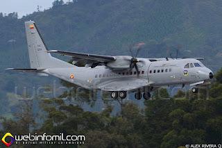 Avión  FAC1281 Casa C-295 de la Fuerza Aérea Colombiana haciendo su arribo a Rionegro  en las horas de la mañana.