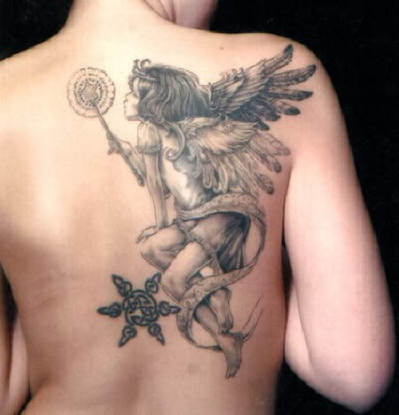Fimale With Upper Back Angel Tattoo Design