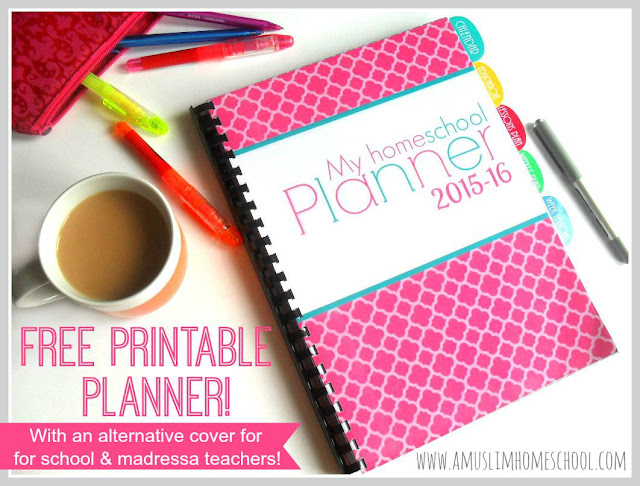 free printable school planner 2015-16 for home educators and school / madressa teachers