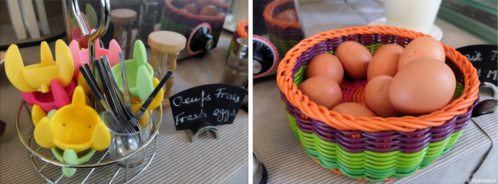 Petit-dèj coloré et funky présentation oeufs, petit déjeuner Hôtel Victoria, Fontainbleau