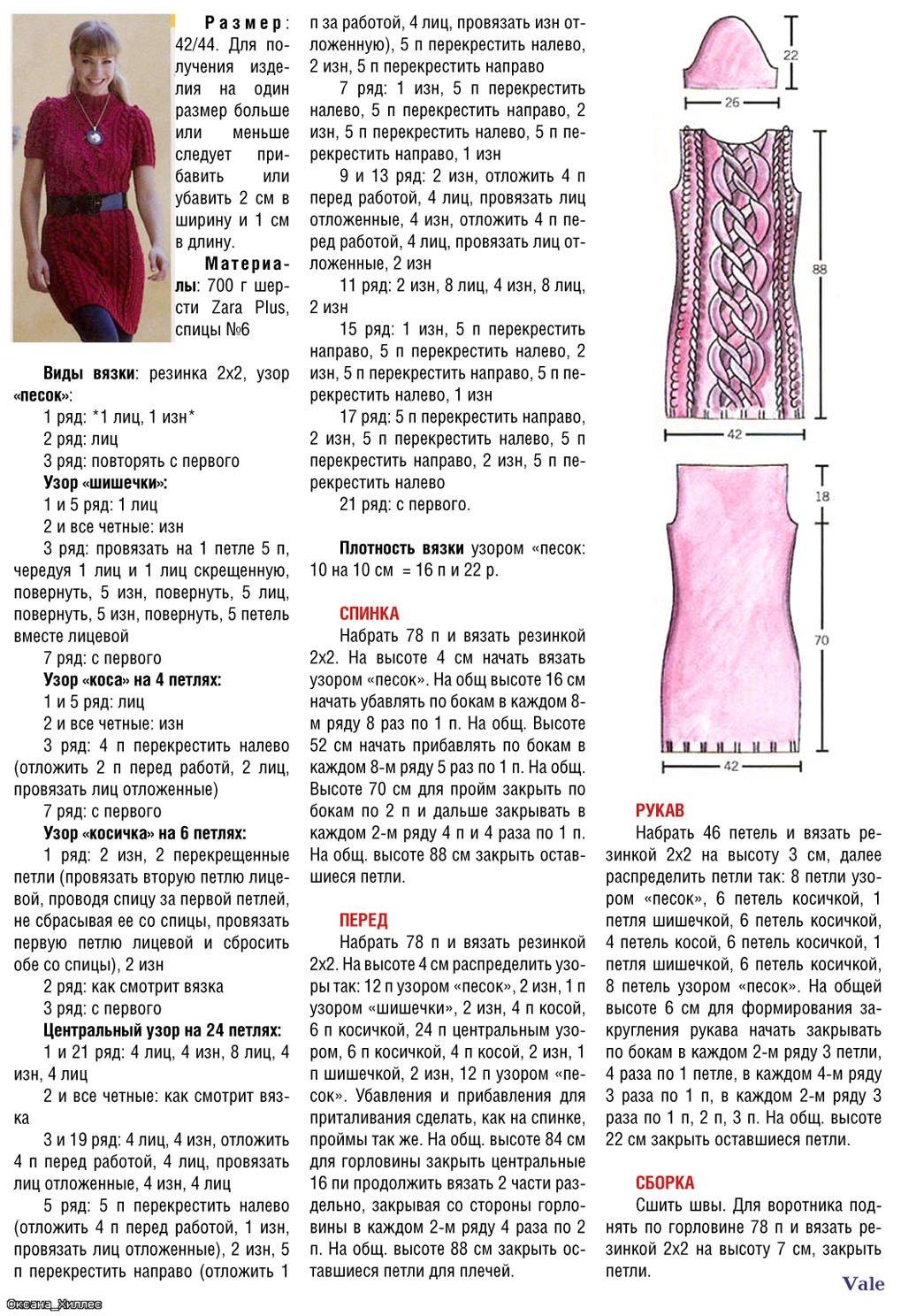 Вязаное платье спицами схемы и для начинающих