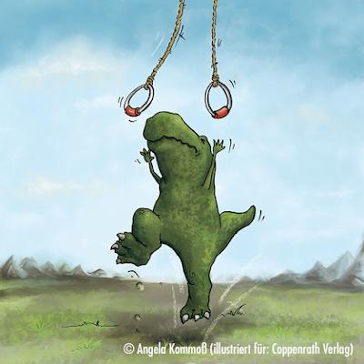 Cartoon,  Dinosaurier, Comic, T-Rex, Geschenkbücher, Coppenrath Verlag, Kommoß, Geburtstag, Irgendwer ist immer älter,