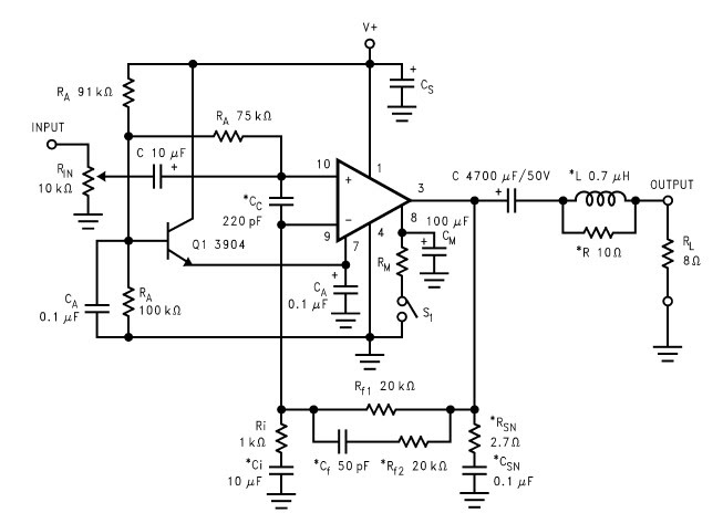 lm2876 40w audio power amplifier circuit and explanation