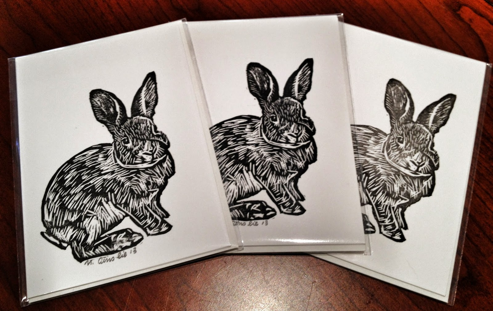 RABBIT Cards - 3 Hand Printed Linocuts on Premium Heavy Weight Paper (With Envelopes)