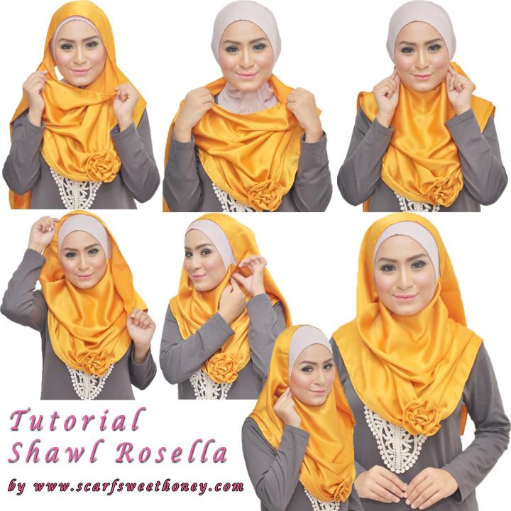 Cara Memakai Jilbab Shawl Rosella 1