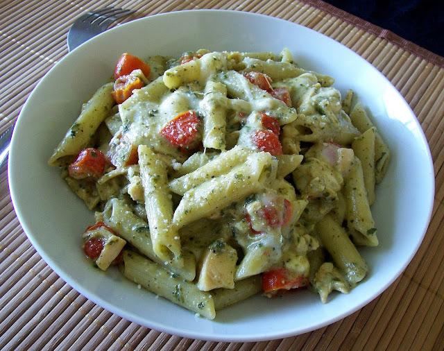 ... Penne in a Creamy Pesto Sauce with Fresh Mozzarella, Grape Tomatoes n