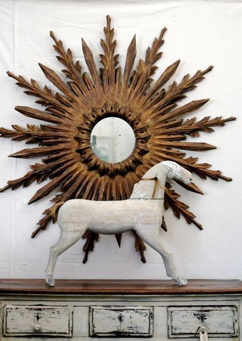 Sunburst Mirror for Home Decor with antique horse