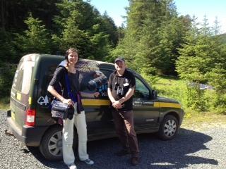 Radio 4's Yvonne Slater with RSPB Ranger John Clare