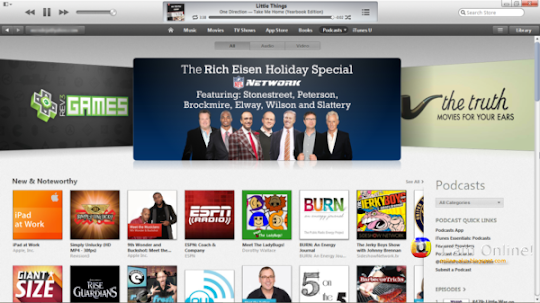 iTunes 11, iTunes Store, Podcasts