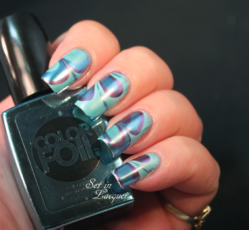 Sally Hansen Chrome polishes - water marble nail art