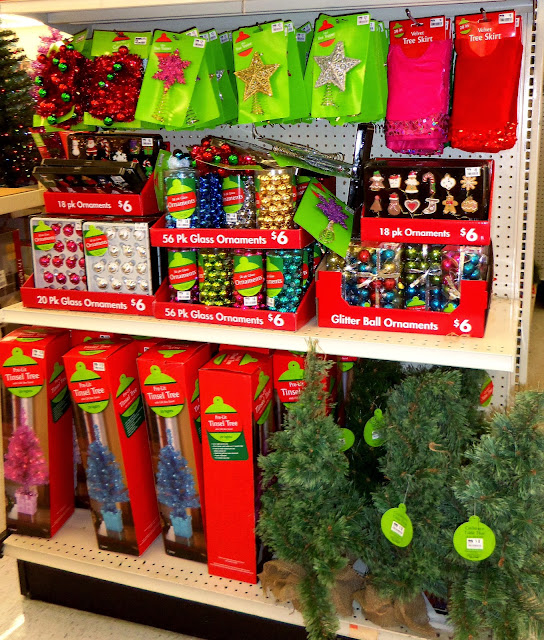 check the gingerbread ornaments and the colored trees on the bottom shelf - Big Lots Christmas Trees
