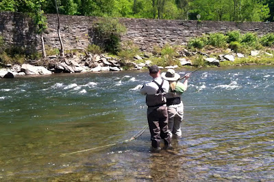 Andrew Moy and Shannon Brightman spey casting on the Beaverkill river, NY