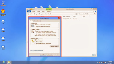 Learn how to disable show or don't show hidden files and folders in windows 8 step13