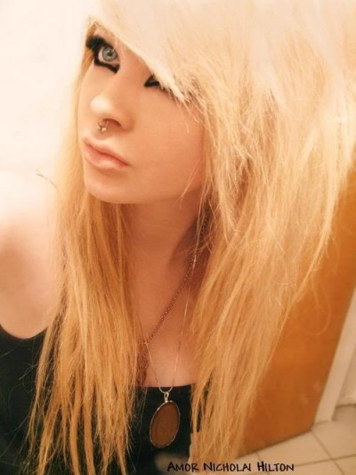 emo girls hair blonde long hair