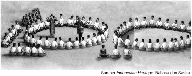 Permainan didong di Gayo, Aceh; tampak kedua kelompok bertanding dengan menyanyikan pantun.