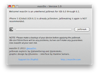 Evasion Jailbreak - iOS 6.1 untethered