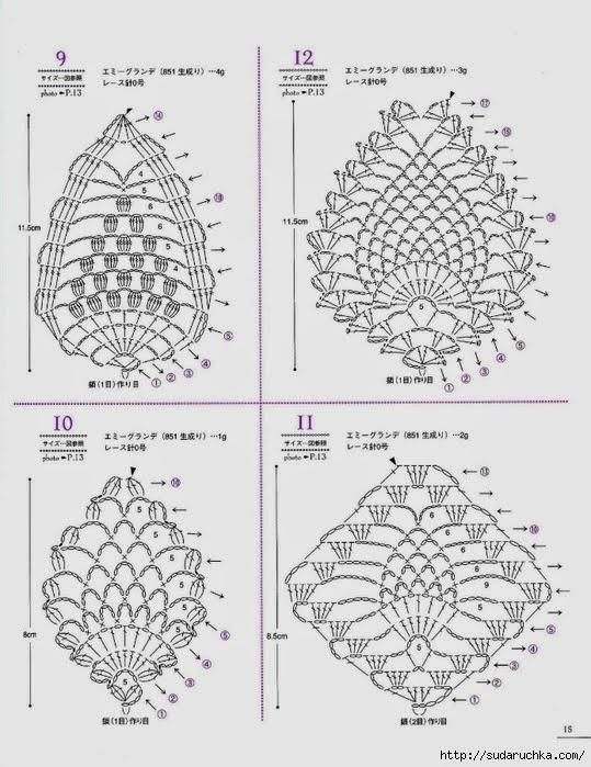crochet  pineapple motives