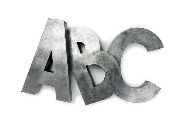 Large Metal Letters For Wall Metal Letters Zinc Oversized Alphabet ABC Wall Decor Decorate Style