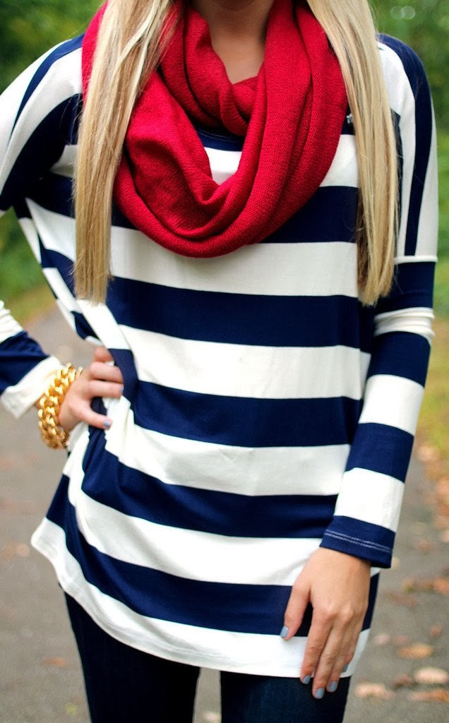 Perfect fall look stripes shirt, jeans and red scarf