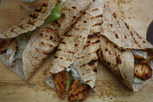 A tray of grilled chicken tikka mojito chapati wraps from www.anyonita-nibbles.com