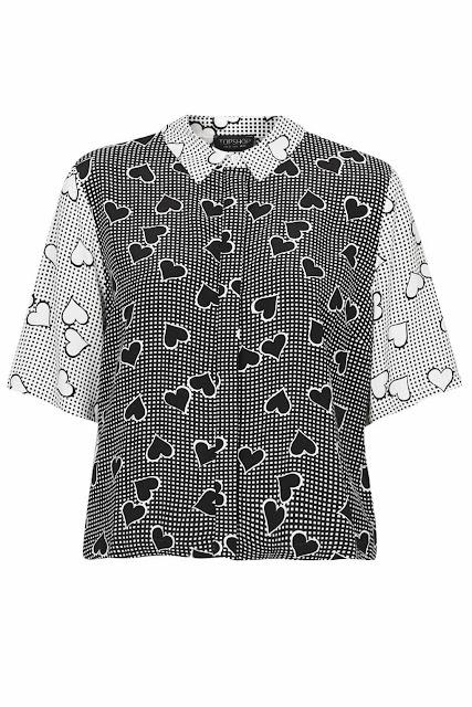 heart print shirt topshop