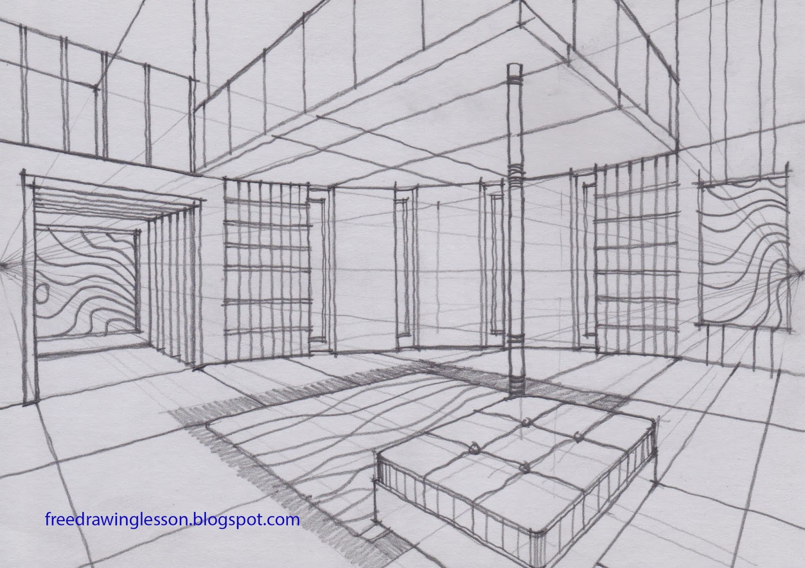 Living Room 2 Point Perspective two perspective drawing room rooms,perspective.printable coloring