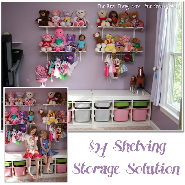 Fantastic $24 shelving storage solution. Perfect for a child room or playroom. Love this idea! #Organizing #Storage #Toys #RealCoake