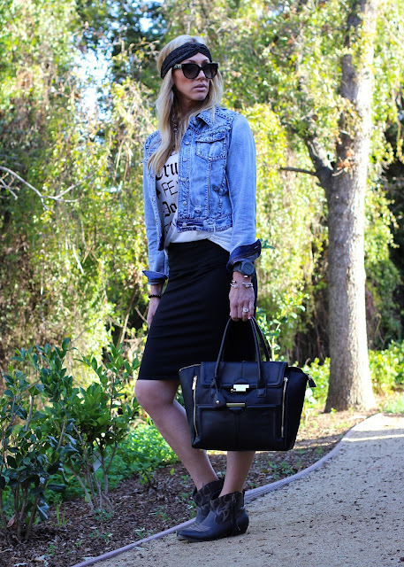 denim jacket pencil skirt