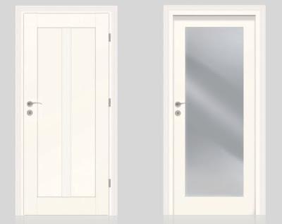 Białe drzwi Vox Classic pełne z listwą ozdobna i przeszklone