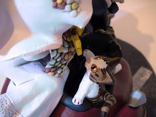 orme magiche cake topper cartoon cane gatto scultura torta nuziale sposini sposi decorazione fatte a mano scolpite modellini