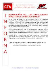 REITERACIÓN DE  LAS DEFICIENCIAS REMITIDAS A CONIL SOLIDARIO