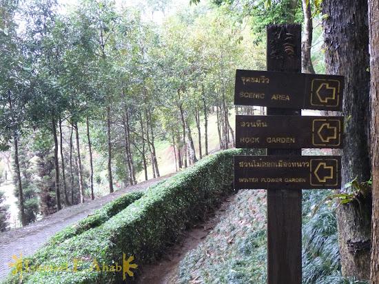 Road sign to spots around Doi Tung Royal Villa