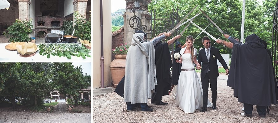 Matrimonio con ricevimento in agriturismo, ingresso sposi con spade