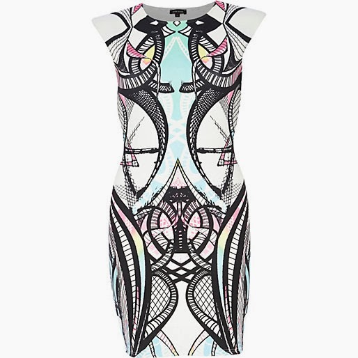 River Island White Mirrored Print Dress